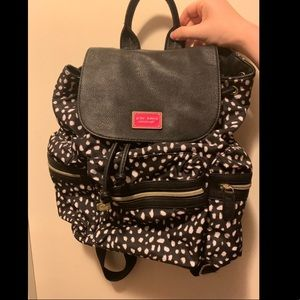 Betsey Johnson backpack black with white pattern